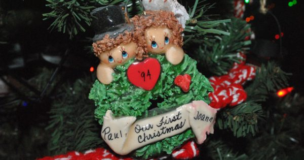 A friend made this ornament for us for our first Christmas.  It's showing it's age, but it's still my most favorite one.